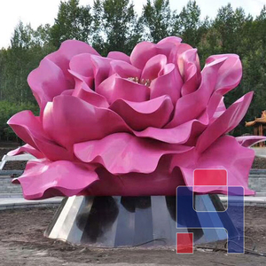 不锈钢牡丹雕塑