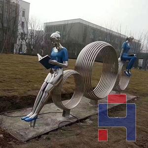 不锈钢人物景观雕塑
